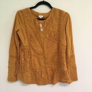 Anthropologie Crochet Long Sleeve Light Top